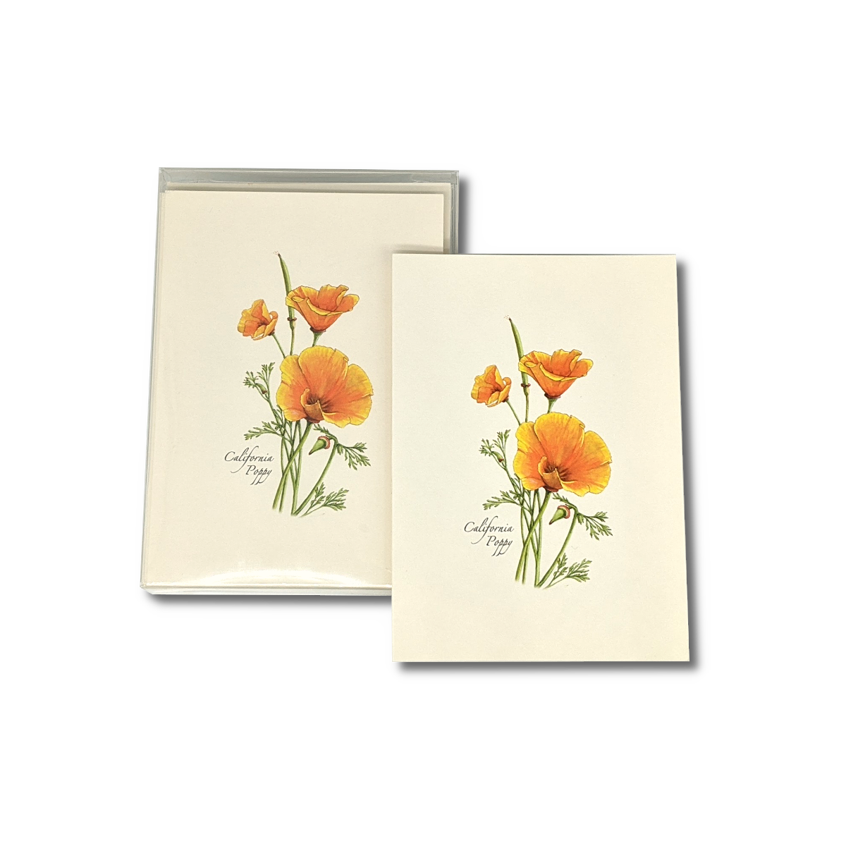 A box of California Poppy notecards
