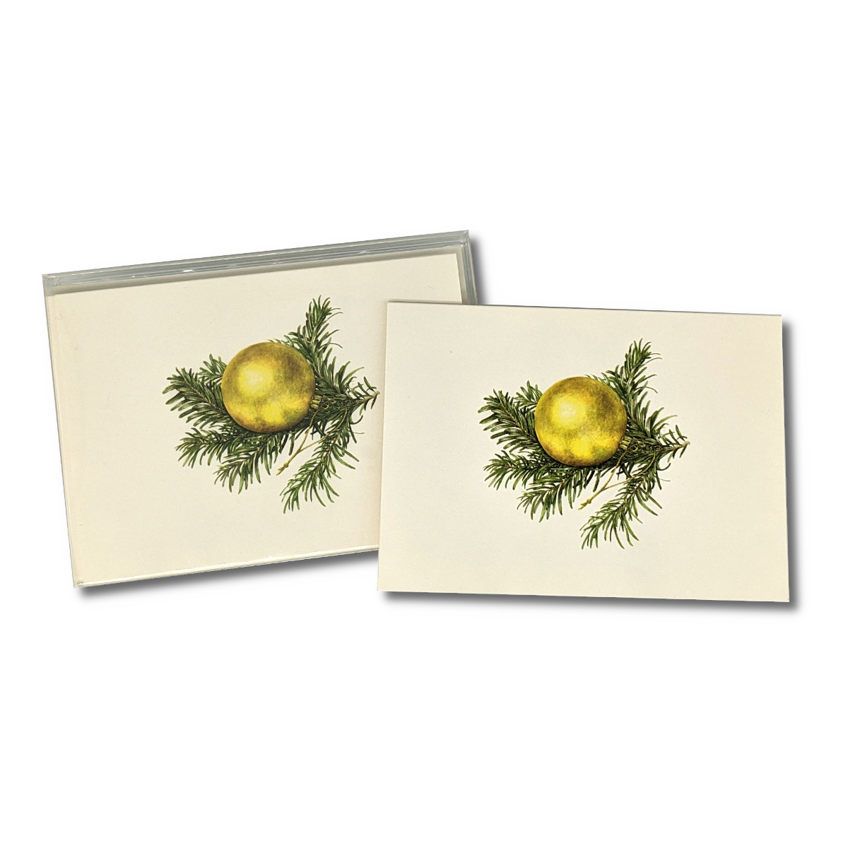 A box of Golden Ornament notecards
