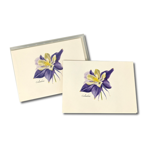 A box of Columbine notecards